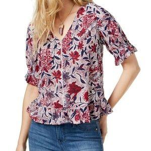 Lucky Brand XS Red Floral Print Blouse  7AV43